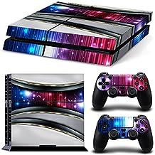 46 North Design Ps4 Playstation 4 Pegatinas De La Consola Silver Galaxy + 2 Pegatinas Del Controlador