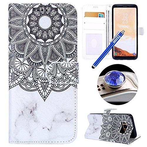 Etsue Kompatibel mit Samsung Galaxy S8 Handyhülle Lederhülle Tasche Leder Flip Case Brieftasche Ledertasche Schutzhülle Handytasche Hülle Bunt Bookstyle Wallet Cover Klapphülle -Weiß Mandala Blumen