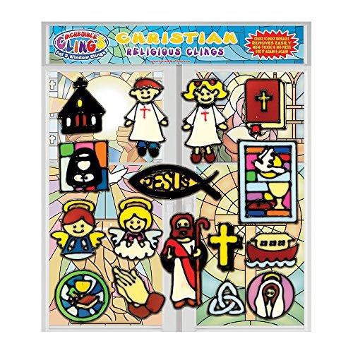Incredible Clings Das Christentum Gel klebt - dickem Vinyl Fenster & Wand klammert sich für Kinder und Kleinkinder - pädagogischen, religiösen und geistigen Gele für Zuhause, Reisen (Fenster Klammert Für Kinder)