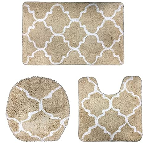 Comfysail Bath Mat Set 3 PCS Non Slip Soft Microfiber Lattice Geometric Bathroom Mat Pedestal Rug and Toilet Seat Cover (Beige)