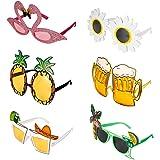 6 Pairs Novelty Party Glasses, Funny Eye Glasses, Beach Party Sunglasses, Hawaiian Sunglasses, Tropical Sunglasses, Photo Pro