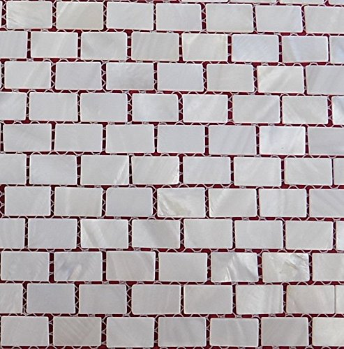 Mosaïque de nacre nature Lit de Rivière Pearl Coque mosaïque rectanguler Brique tiles15 Blanc * * * * * * * * 25 mm