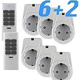 solidBASIC - Funk Schalter Steckdosen Set : 6 x Funksteckdosen + 2 x Fernbedienung | 4-Kanal Plug & Play Funkschalt-Set - WEIß