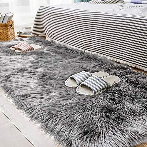 CUSHION Faux Schaffell Pelz Teppiche Flauschige Sofa Decke Super Weich Yoga Pads Elegant Vlies Stuhl Matte Zottelig Vlies,Gray,70x150cm(28x59inch)