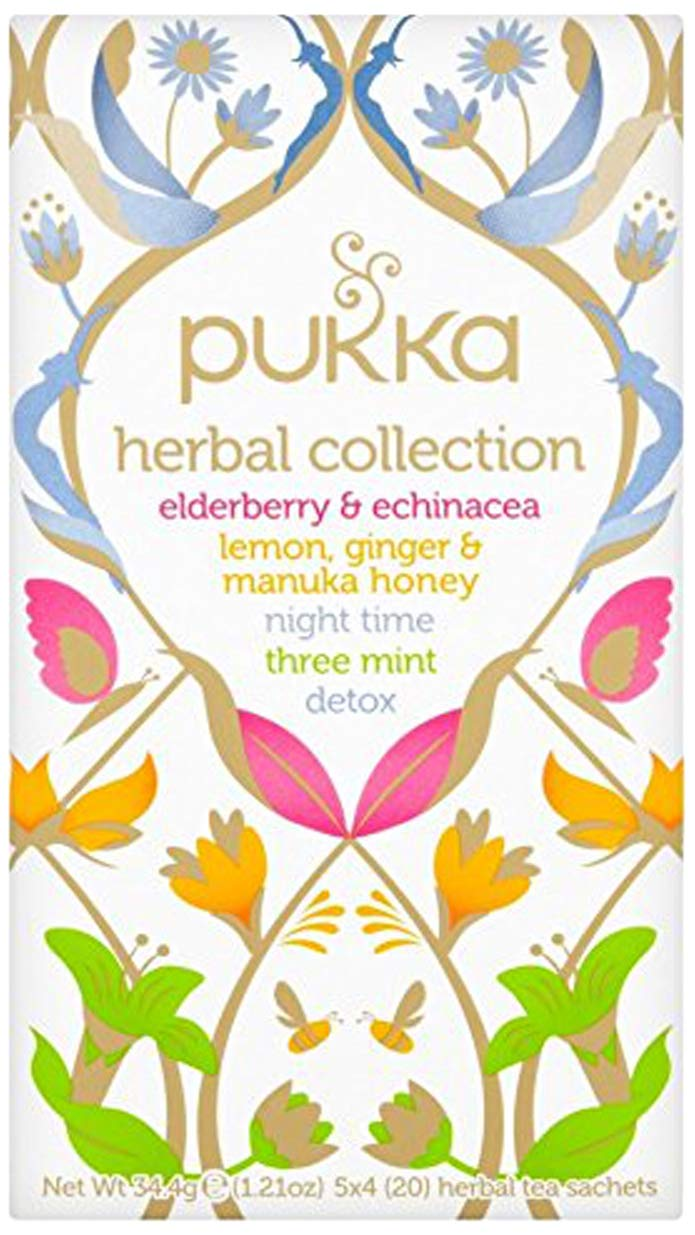 Pukka Immunity range tea bundle (soil association) (infusions) (4 packs of 20 bags) (80 bags) (a floral, fruity, spicy tea with aromas of echinacea, elderberry, ginger, lemon, spearmint) (brews in up to 15 min)