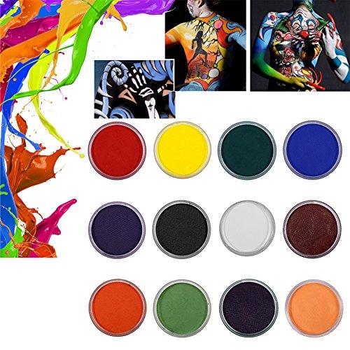12 Farben Körpermalfarbe Körperfarbe Set, Profi Bodypainting Wasser-basierte Matte Körper Malerei Pigment für Body und Facepainting Halloween Karneval Make Up