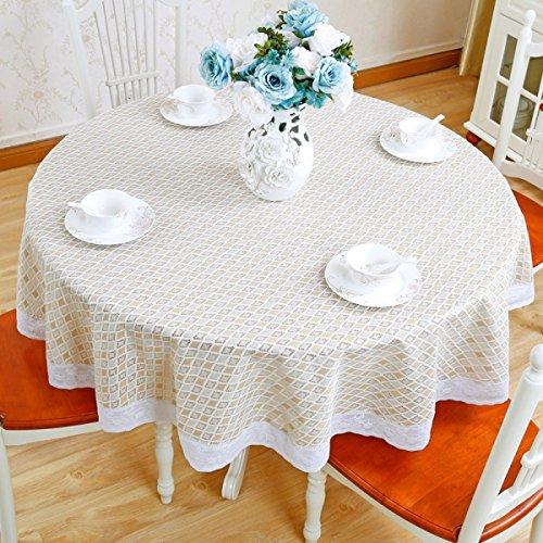 Tao Tischtuch Tischdecke Tuch Läufer Tee Tischdecke Spitze Kunststoff Tischdecken PVC Home Dining Tischdecken Runde Wasserdicht Öldicht Hotel (Weiß Durchmesser: 180 cm) (Farbe : F)