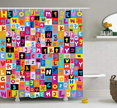 BUZRL Abstract Shower Curtain, Colored Alphabet Letters Pattern Education School Puzzle Children Graphic Print, Fabric Bathroom Decor Set with Hooks, Rainbow Colors,60x72 inches -