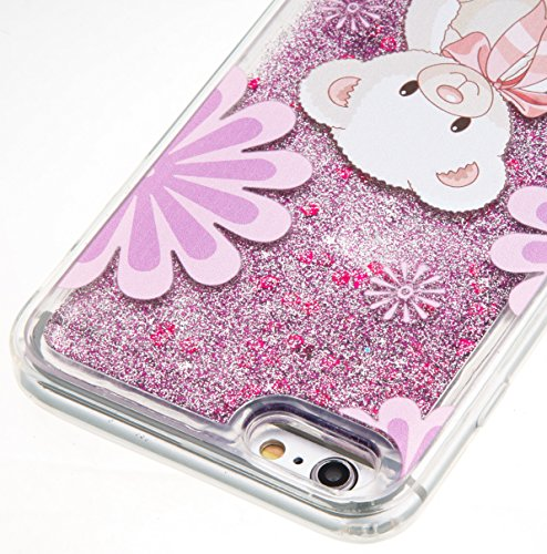 For iPhone 6 PLUS 5.5[CUTE SPARKLING]Novelty Creative Liquid Glitter Design Liquid Quicksand Bling Adorable Flowing Floating Moving Shine Glitter Case -GOLD EIFFEL PURPLE BEAR