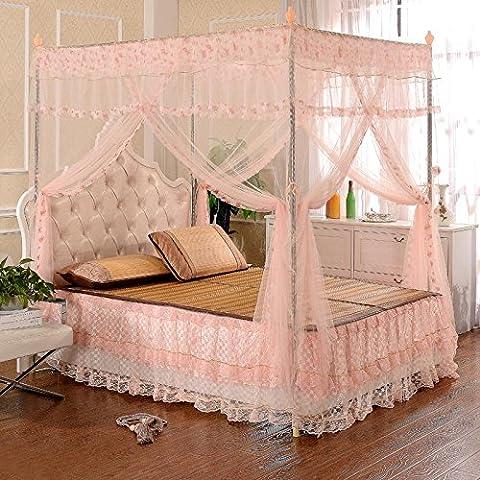 Rosa acero inoxidable piso stand tres mosquitos cama redes 1,5 1,8 M lujo decoración del hogar en las redes de la cama , 2