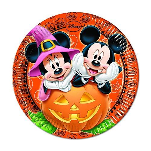 Pappteller für Halloween-Partys, Disney-Motiv Micky Maus, 23cm, (Party Disney Halloween Dekorationen)