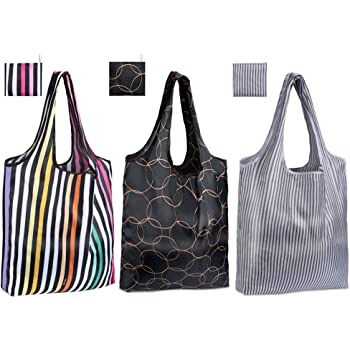 ec4dc66a49 Reusable Shopping Bags, Eco Friendly Foldable Grocery Bags Heavy Duty  Washable Tote Bags, Small, 40cm x 40.5cm x 6cm (Small, 3 Pack B)