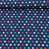 MAGAM-Stoffe ''Nasch-Mich'' Baumwoll-Stoff | bunter Kinder-Stoff aus 100% Baumwolle | Meterware ab 50cm | FX (Sterne auf dunkelblau)