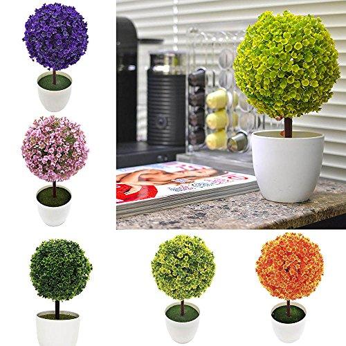 HuaYang Mini Künstlicher Baum Kugelform Haus Dekor Pflanzen Topf Kunststoff Grün - 2