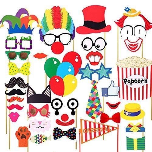 Veewon 36pcs lustige Partei Fotorequisiten DIY Installationssatz-rote Nasen-Zirkus-Clown-Cosplay-Fotographie-Stütze für Karnevals-Partei, Hochzeit, Geburtstag und Abschlussfeier