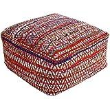 """Homescapes Puff """"Chindi""""blando cuadrado, estilo oriental, multicolor 60 x 60 x 30 cm"""