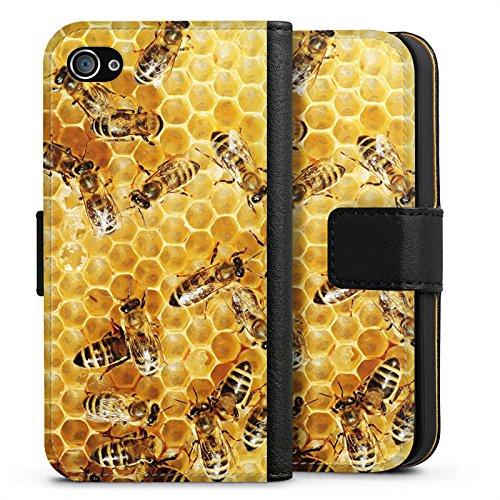 Apple iPhone 5s Hülle Case Handyhülle Bienen Biene Insekten Sideflip Tasche schwarz