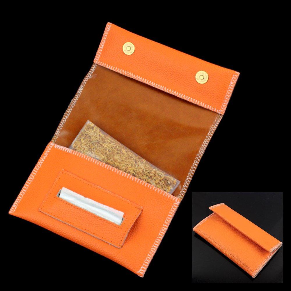 Vera pelle della cassa narghil� sigaretta di tabacco in punta di Rolling Paper Holder slot, donna Uo