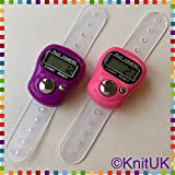Tally Counter - LCD (Finger-Held). 2 Pack. Pink & Purple Digital Knitting Row Counters