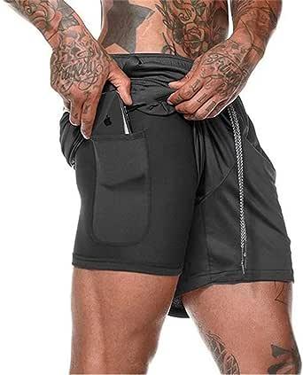 XDSP Pantaloncini Sportivi da Uomo, 2 in 1 Sport e Allenamento Fitness Shorts Jogging, Pantaloncini Asciugatura Veloce