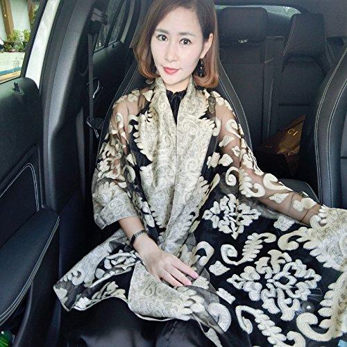 Upper de ethnique écharpe pour femme est fin Sun écharpe femmes seidenschals aufg estickten Fleurs Camel