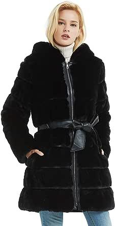 BELLIVERA Cappotto Invernale da Donna in Pelliccia Sintetica con Cappuccio con 2 Tasche, 2 Colori (Nero e Rosa), Cappotto con Cinturino in Pelle