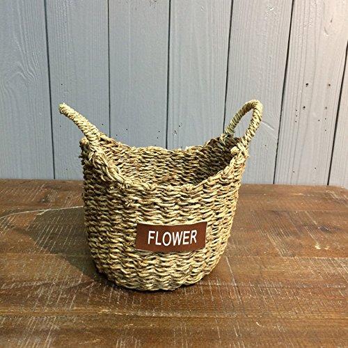 ZHFC-plantes plantes artisanat l'artisanat panier de fleurs paille ameublement de maison fleuriste de stockage ameublement de maison panier de fleurs,mes oreilles sont rondes,basket - haut,16 * large,14,5 * 10