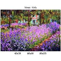 Stampa in Tela Canvas 100% QUALITà ITALIA - Monet - Viola effetto Dipinto Idea Regalo Casa quadro cucina stanza da letto soggiorno (60x86)