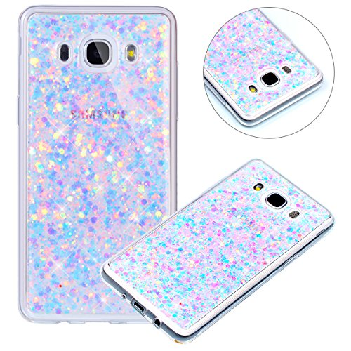 Surakey Compatible avec Coque Samsung Galaxy J7 2016,Paillette Strass Brillante Glitter Transparent Silicone TPU Souple Housse Etui Bumper Case Cover de Protection pour Galaxy J7 2016,Violet
