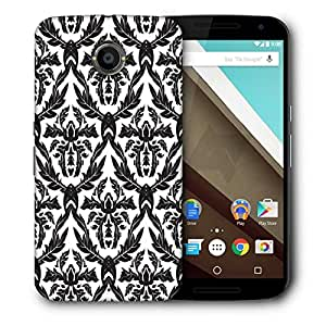 Snoogg Black Leaves Pattern Designer Protective Phone Back Case Cover For Motorola Nexus 6