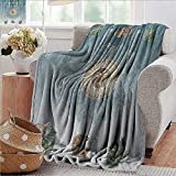 """XavieraDoherty Picnic Blanket,Hippie,Ancient Sun Figure with Cats Spiritual Sacred Belief Totem Boho Display Print,Teal Pale Grey,Colorful 