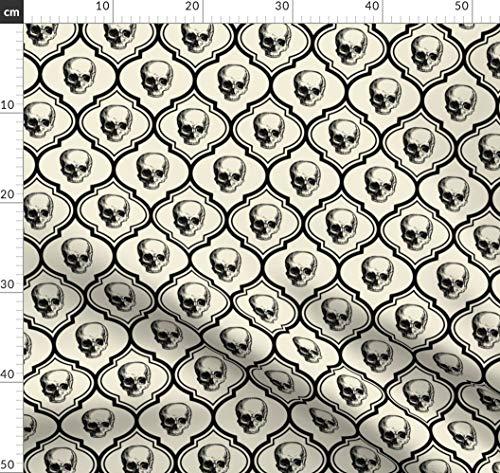 Halloween, Knochen, Totenköpfe, Skelett, Edwardianisch Stoffe - Individuell Bedruckt von Spoonflower - Design von Thecalvarium Gedruckt auf Fleece