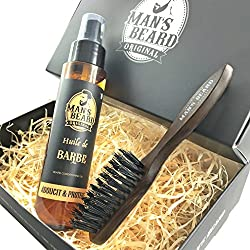 man's beard - fabrication française - coffret avec huile à barbe et brosse à barbe - serum/huile à barbe pour homme : 75 ml + brosse à moustache et barbe