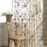 Rosa e Verde Ricamato voile tende vorhange per camera da letto soggiorno ristorante balcone 2pezzi 175cm x 140cm (H x B)