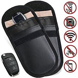 2* Clé Voiture Blocage,MONOJOY RFID Signal Blocage Sac High Tech Protection Anti Ondes Keyless Housse Etui Cle Protection Contre Radiations Téléphone Portable (Noir)