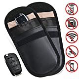 2 X Car Key Signal Blocker Case, Faraday Bag for Car Keys Keyless Entry Fob Guard RFID Signal Blocking Pouch Bag, keyless car key signal blocker pouch, Cell Phone Protection RFID/ WIFI/ NFC Blocker