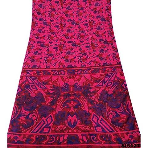 Época De Color Rosa Sari De Seda Estampada De Flores Bollywood Utilizado Decoración De La Tela Mezcla Mujeres Indias Saree 5Yd