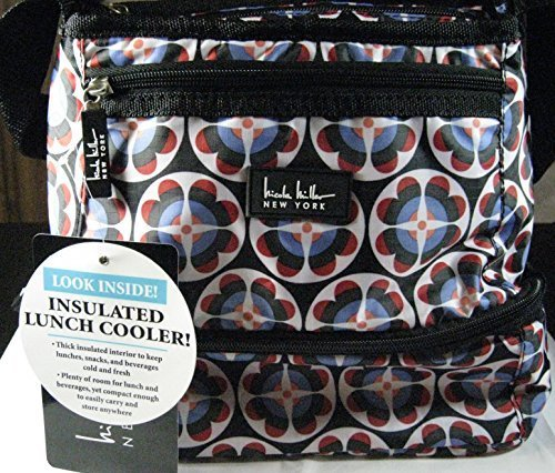 nicole-miller-of-new-york-insulated-lunch-cooler-circle-flower-black-10-lunch-tote-by-nicole-miller