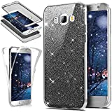 Custodia Galaxy J7 2015, Cover Galaxy J7 2015 360 Gradi Silicone, SainCat Cover per Samsung Galaxy J7 2015 Custodia Silicone Morbido, 360 Gradi Full Body Glitter Bling Ultra Slim Transparent Silicone Brillantini Case Ultra Sottile Morbida Gel TPU Cover Case Custodia Protettiva Crystal Clear Cover Bumper Antishock Antipolvere Ultra Soft Ultra Protettiva Custodia Bumper Cover per Samsung Galaxy J7 2015-Nero