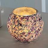 KOBWA Romantische Kerzenhalter Lila Mosaik Glasschale Kerzenhalter für Dekoration Hochzeitsfest Geschenk