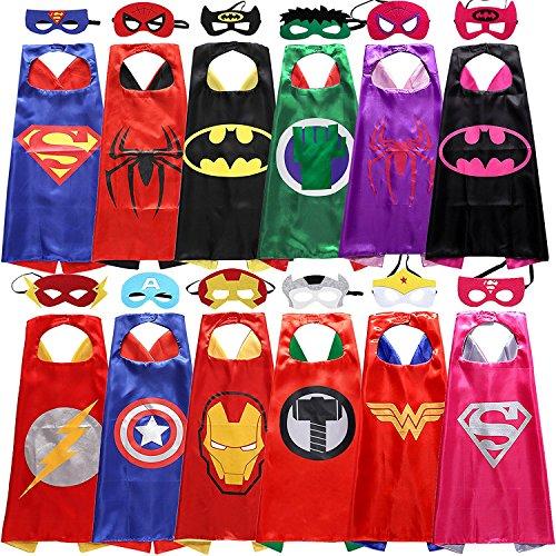Kinder Cape und Masken Superman Spider-Man Batman Hulk/Spidergirl/Batgirl Flash Thor Captain America Iron Man Wonderwoman Supergirl Kostüme Super Hero Kleid bis Costumes Marvel Avengers Fancy Kleid (Batman Kostüm 3 Vor 4 Jahren)