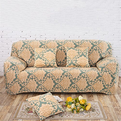 Greencolourful stretch spandex tessuto Full Cover anti-skid di divano con grande elastico stile western blu foglia modello stampa sofa Furniture cover