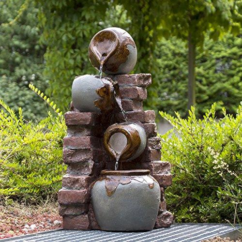 Köhko XL Gartenbrunnen Riesa mit Mauerwerk und Krügen Wasserfall Wasserspiel für Terrasse 13012
