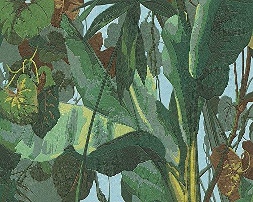 Preisvergleich Produktbild A.S. Création Vinyltapete Dekora Natur Tapete in Dschungel Optik 10,05 m x 0,53 m blau braun grün Made in Germany 958981 95898-1