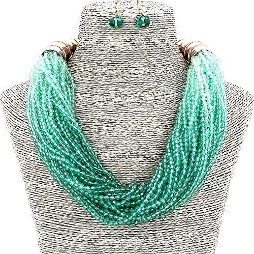 Sammlung Kostüm Stammes - Modeschmuck Mädchen Harz Grün Perlen Kragen Frauen Halskette und Ohrringe einstellen