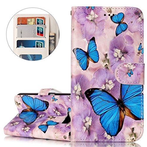 Coque Galaxy S6, Etui pour Samsung Galaxy S6, ISAKEN Peinture Style Soulagement de la couleur PU Cuir Flip Magnétique Portefeuille Etui Housse de Protection Coque Étui Case Cover avec Stand Support et Papillon bleu fleur