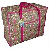 Large pink storage bag with pocket. Woodland animals design. Toys, washing and laundry bag