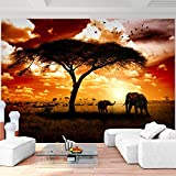 Fototapete Afrika Elefanten 352 x 250 cm Vlies Wand Tapete Wohnzimmer Schlafzimmer Büro Flur Dekoration Wandbilder XXL Moderne Wanddeko - 100% MADE IN GERMANY - Runa Tapeten 9110011a