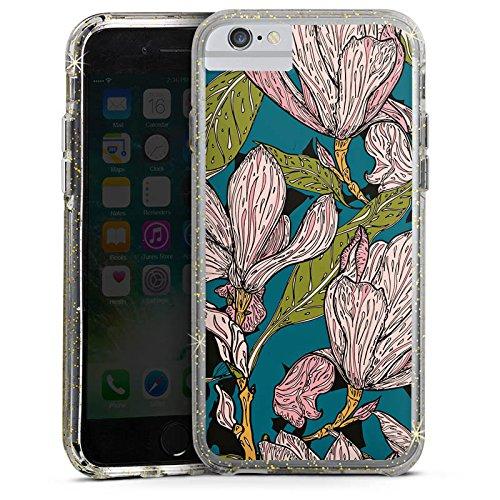 Apple iPhone 7 Plus Bumper Hülle Bumper Case Glitzer Hülle Magnolia Magnolien Flowers Bumper Case Glitzer gold