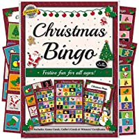 Christmas Party Bingo Game: Fun for guests of all ages - more entertaining than a xmas quiz! Novelty gift idea for a family stocking filler bag or secret Santa present. Includes 8 games sheets that cut to provide 24 games. Great activity for work, school, club, office party or even the pub!